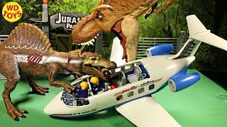 New Jurassic World  Super Colossal T-Rex Vs Spinosaurus Playmobil Plane Unboxing Dinosaur Toys