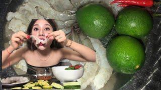LẦN ĐẦU ăn tôm SỐng Tái Chanh Siu Cay Chúc Mừng kênh đc 400 Nghàn Người Sụp rai