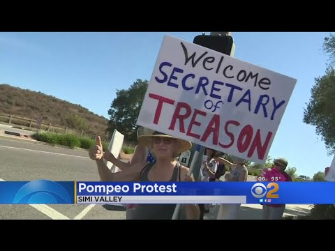 Group Of Angry Protesters Denounce Secretary Of State Mike Pompeo