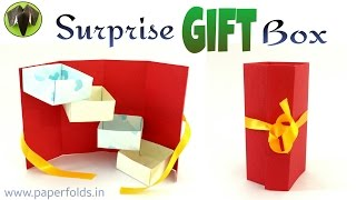 """How to make a Paper """"Surprise Gift Box"""" - Useful Origami / Craft Tutorial"""