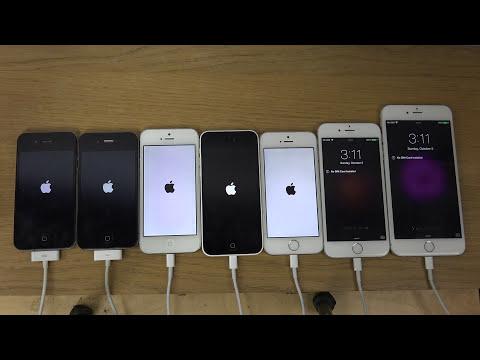 iPhone 6 Plus vs. 6 vs. 5S vs. 5C vs. 5 vs. 4S vs. 4 - Which Is Faster? (4K)