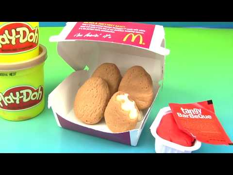 PLAY-DOH McDonalds Chicken McNuggets. Cookie Monster. DIY How to Make with BBQ Sauce