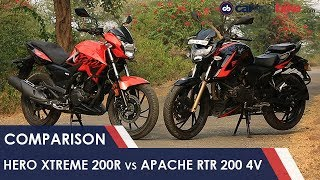 Hero Xtreme 200R vs TVS Apache RTR 200 4V Comparison Review   NDTV carandbike