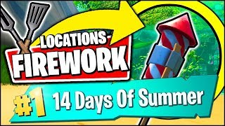LAUNCH FIREWORKS FOUND ALONG THE RIVER BANK *ALL LOCATIONS & REWARD* (Fortnite 14 Days Of Summer)