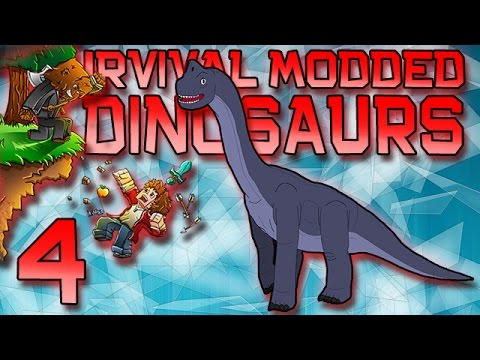 Minecraft: Modded Dinosaur Survival Let's Play w/Mitch! Ep. 4 - LONG NECK DINO!