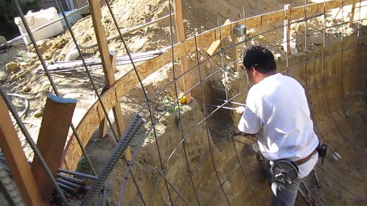 Koi pond construction part 2 rebar plumbing youtube for Koi pond plumbing