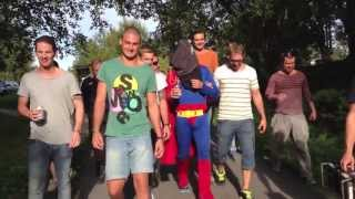 Superman gets a fake bungee jump at swedish bachelor party