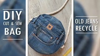 FANTASTIC DIY JEANS ROUND BAG // Cute LongStrip Bag Out Of Old Jeans Cut & Sew Way