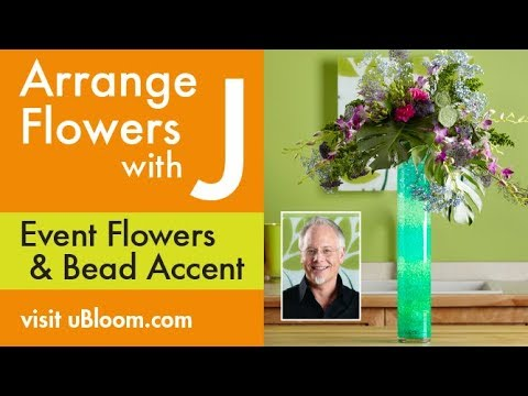 How to Arrange Flowers:  DECO BEAD Centerpiece in a Cylinder Vase!