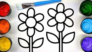 Coloring Flower Sun Coloring Pages with Painting, Children Learn to Color with Paint