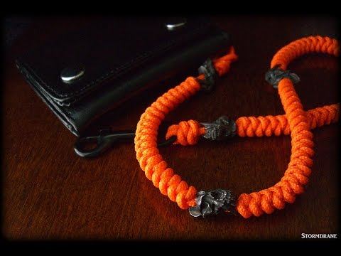 A two-strand wall knot sinnet paracord lanyard