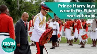 Prince Harry lays wreath in honour of Fijian war veterans