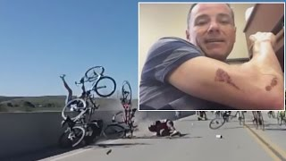 Watch Cyclist Cling To Wall For Dear Life In Horrible Accident