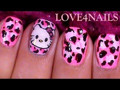 Como Pintar A ♥  Hello Kitty ♥  Paso a Paso ♥ Arte Para Uñas Cortas