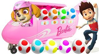 Best Learn Colors Video with Paw Patrol Barbie Airplane Surprise Eggs with Skye & Chase for Kids