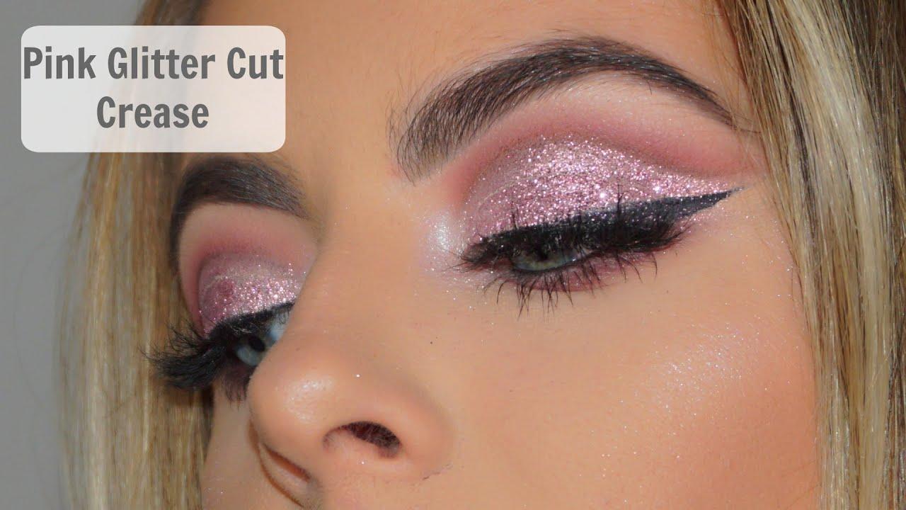 Pink glitter eye makeup