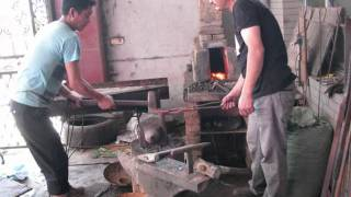 Forging of a chinese jian in a traditional way