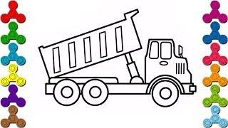 Cách vẽ ô tô tải | Bé tô màu ô tô đồ chơi | Màu sắc Tiếng Anh