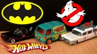 2013 Hot Wheels Cars Retro Knight Rider KITT Diecast, Ghostbusters Ecto 1 Scooby-Doo Mystery Machine