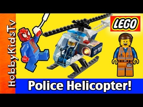 Lego City Police Helicopter Build + Play  Emmet And Spider-man (60008) Hobbykidstv video