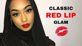Classic red lip glam with bronze eyeshadow makeup tutorial | SABINA HANNAN