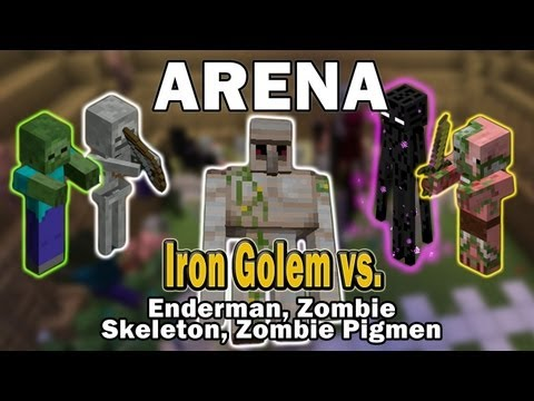 Watch Minecraft Arena Battle Iron Golem vs. Enderman, Zombie, Skeleton, Zombie Pigmen