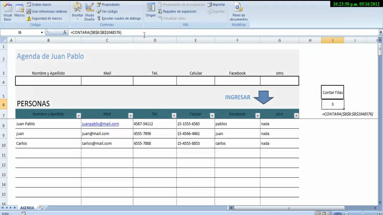 agenda en excel  address book in excel