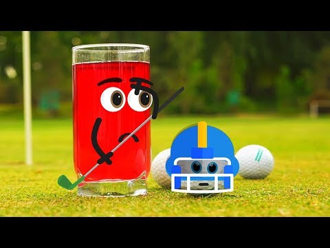 Glass with juice playing golf | Doodland Goodland