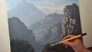 Acrylic Painting in Time Lapse Rocky and Misty Mountains and Cliffs by JM Lisondra