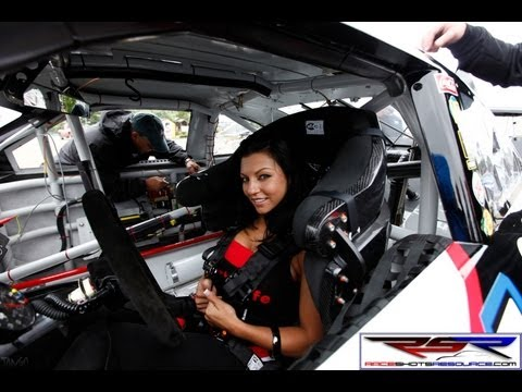 Tony Stewart helps model with huge tits into his race car!