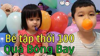 Trò chơi bé thổi và đùa nghịch với 100 quả bóng bay - Baby Pretent Play tiny Balloons