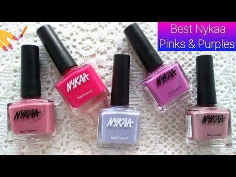 Best Pink & Purple Nail Polish Shades By Nykaa//Nail Polish Swatches