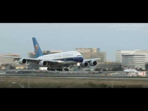 China Southern A380 landing at LAX
