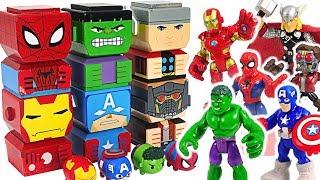 Marvel Avengers Tiki Tiki Totem Hulk, Spider-Man, Iron Man cube building! Defeat Thanos! #DuDuPopTOY