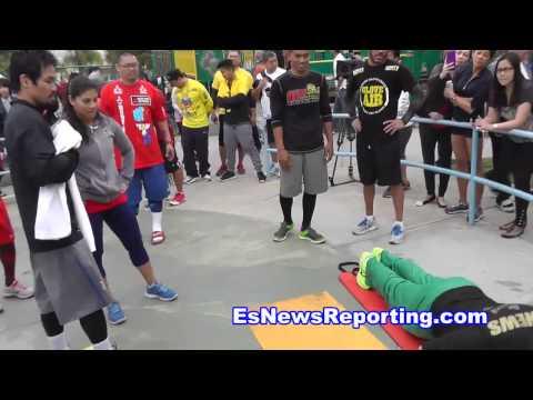 Manny Pacquiao Drills A Crazy Long 3 Seckbach Has To Do 100 Pushups - esnews boxing