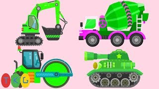Lắp Ráp Xe Xúc Đất, Xe Cần Cẩu, Xe Trộn Bê Tông - Xe Tank & Xe Cứu Hỏa- Màu Xanh | TopKidsGames 318