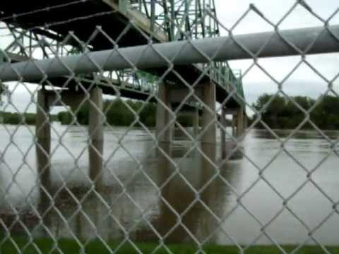 Missouri River Flood, under the Mormon Bridge in Omaha - 6/23/2011