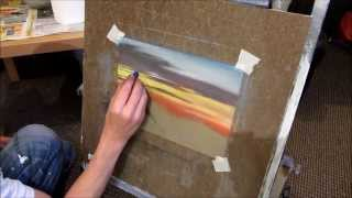 Painting a mountain sunset with Pastels Part 1
