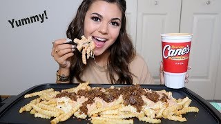 CANES SAUCE ANIMAL STYLE FRIES!!! MUKBANG