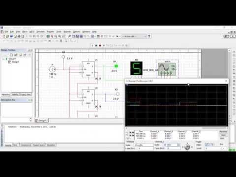 Multisim JK-FlipFlop counter Binary, Decimal and Osciloscope