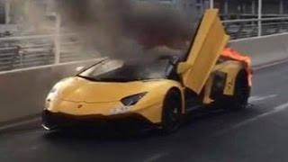 BURNING Lamborghini in Dubai Marina 1.65 Million AED