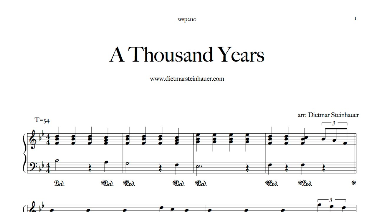 A thousand years youtube for Dietmar steinhauer