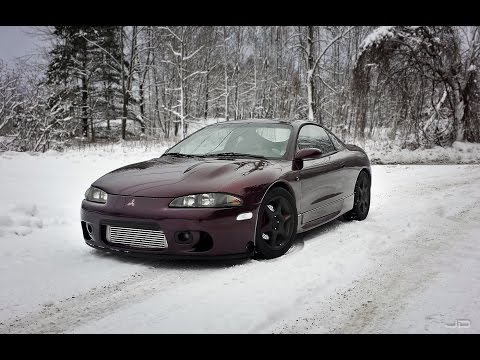 1997 Mitsubishi Eclipse GSX cold start and launch in the snow