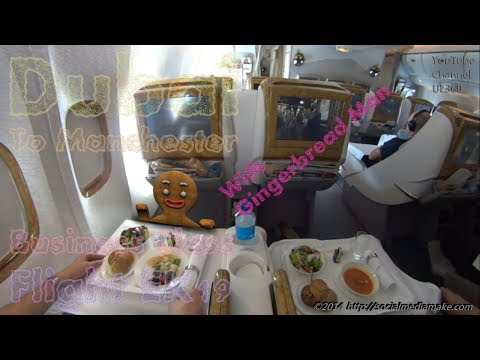 Emirates Business Class   Aboard Entire Flight   With Freaky Gingerbread Man   Flight EK19