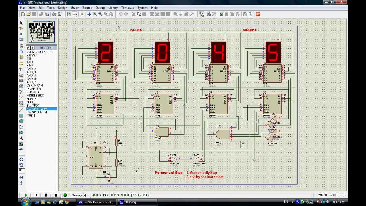 Digital Circuit Simulation of 24 hrs Clock