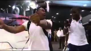 West Indies players dance on Champion Song