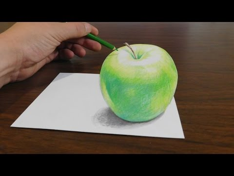 Drawing a 3D Apple - Trick Art Optical Illusion