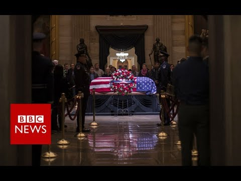 George HW Bush casket arrives in DC - BBC News