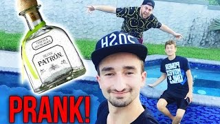 CHUGGING A BOTTLE OF PATRON PRANK - Fake Tequila Drinking Troll