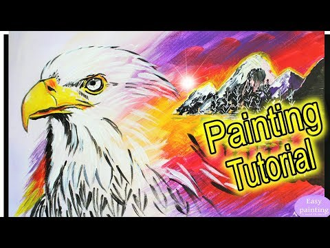 How to paint EAGLE multiple EXPOSURE. Acrylic Painting Tutorial step by step / multi double